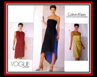 MINIMAL DRAPE DRESS-Vogue Sewing Pattern-3 Styles-Calvin Klein-Color Block-Shaped Hem-Inner Foundation-Unique Drapery-Uncut-Size 8-12-Rare