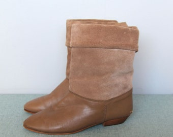 daytripper -- Vintage 80s tan soft leather & suede boots size 5 1/2