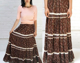 fields of grain -- vintage 1970s gunne sax maxi skirt XS