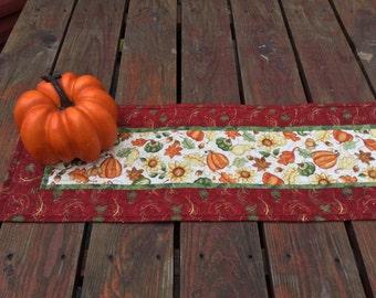 Fall Table Runner, Fall Quilted Table Runner, AutumnTable Runner, Maple Oak Leaf Runner, Sunflowers Pumpkins Table Runner, Rust Green Orange
