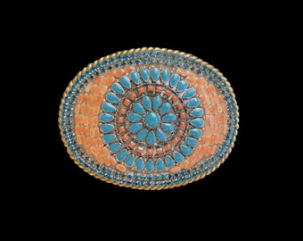 Southwestern  Western Cowgirl Faux Turquoise and Coral and Rhinestone Mosaic Belt Buckle