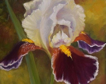 Floral Still Life Painting, Purple And White Iris,10x10 Canvas Original Oil Painting by Cheri Wollenberg
