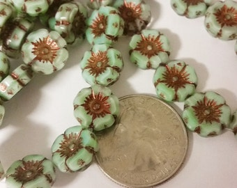 Czech glass Flowers with copper