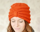 ON Sale Knitted Turban Beanie Hat, Warm Chunky Hat, Knitted, Russet, Knit hat, UK, Xmas Gift Present