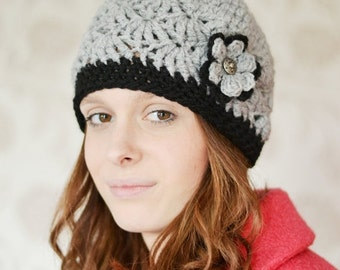 ON Sale Womens Grey Beanie Hat, Warm Chunky Hat, Crocheted with Flower