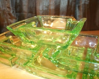 Vintage Vaseline/Uranium Glass Ashtrays