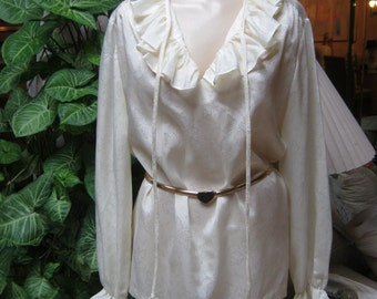 Vintage cream beige embossed ruffled blouse, easy care ruffle neck cuff beige blouse, size M or L beige ruffle tie blouse, Lady Devon blouse