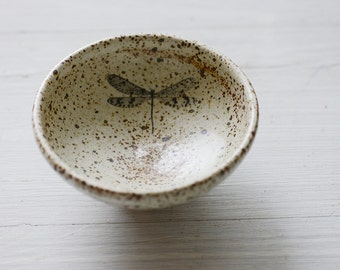 Wheel Thrown shallow White Speckled  Bowl with dragon fly