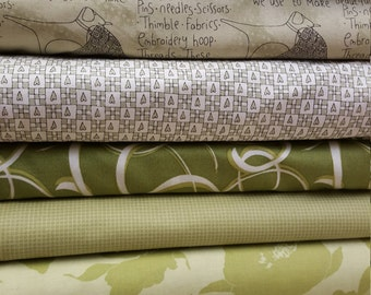 9 fat quarters in Greens