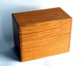 Vintage Tiger Oak 4 x 6 Wooden File Box - Recipe Card Box - Hedges Mfg. Co. - Mortised Dovetail Joints - Mid-Century Kitchen Organization
