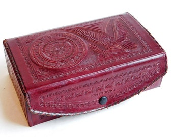Vintage 1960s Tooled Red Leather Jewelry Box Mexico Souvenir - Embossed All Sides - Eagle, Mayan Calendar - Removable Tray - Snap Closure