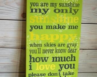 You are my sunshine - Sunshine sign - Nursery decor - Wood sign - Sunshine - Sign - Wall art - My only sunshine - Nursery sign - Home decor