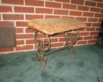 Vintage 1920s Art Deco Cast Iron Radio Bench with Original Upholstery