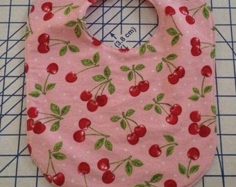 SALE cherries on pink polka dots baby bib