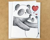 Pandas Love Hugs Greeting Card