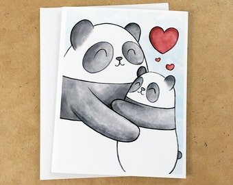Pandas Love Hugs Greeting Card