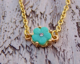 Mint Green Flower Necklace Dainty Petite Teal  Blue Simple Minimalist Bohemian Boho Layering Gold Tone Necklace