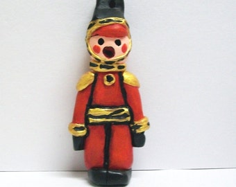 Toy Soldier, Sculptured Christmas Ornament, Folk Art, Painted Red Polymer Clay, Old-Fashioned Holiday Nutcracker, Military Home Decor