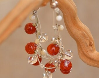 Fire Agate Bracelet. SALE. White Leather Twigs Orange Agate and Clear Quartz  Sterling Silver Bracelet.