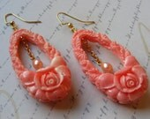 Pink Rose and Pearl Earrings-3 inches or 7.5 cm