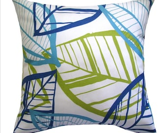 CLEARANCE - Leaf Azure STUFFED Throw Pillow - Richloom Belize Botanical Azzure Outdoor Decorative Pillow Free Shipping