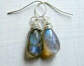 Teardrop Labradorite Earrings with Sterling Silver French Hooks