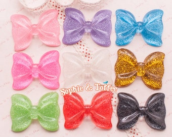 Huge Glitter Bow Flat Back Resin Cabochon - 9pc   Resin Cabochon Decoden Supplies Jewelry Making Flatback Resin Cabochon