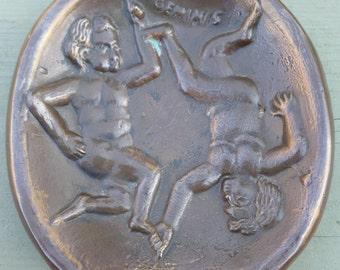 Sarreid LTD Spain bronze brass Zodiac Gemini the Twins foundry bowl TRAY June birthday