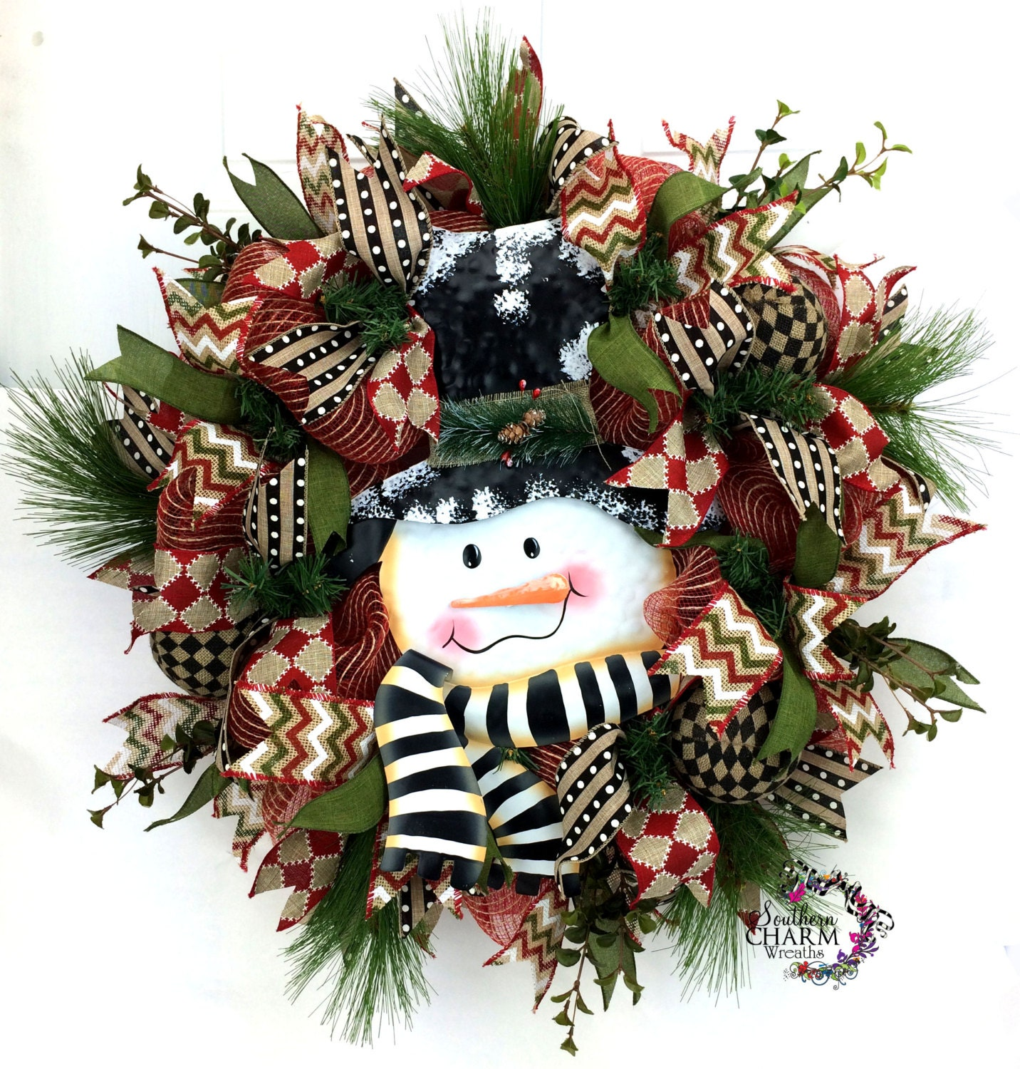 Rustic burlap snowman wreath in red green black burlap for Snowman made out of burlap
