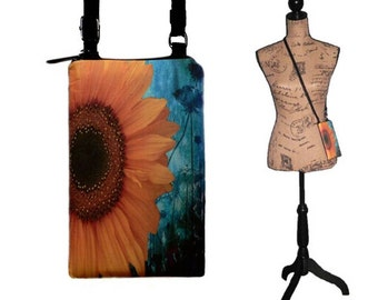 Cell Phone Case for iPhone 6 , 5, 4, Smartphone Phone Purse, Small Cross Body Bag, Sunflower MTO