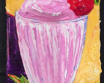 Strawberry Milkshake Fine Art Impasto Oil Painting by Paris Wyatt Llanso