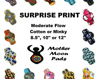 """SALE Surprise Print Moderate Cloth Pad ~ Choose 8.5"""", 10"""" or 12"""" ~ Choose Cotton Woven, Flannel, or Minky MotherMoonPads Cloth Menstrual Pad"""
