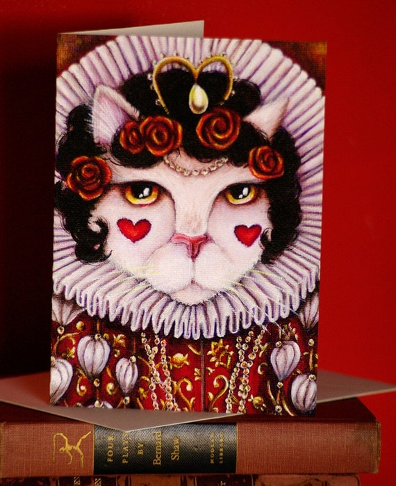Queen of Hearts Cat Card, Alice in Wonderland Fantasy Cat Greeting Card