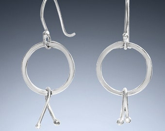 Sterling Silver Circle Ribbon Earrings