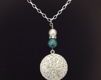 Essential Oil Diffuser Necklace, Teal & White Glass Pearls