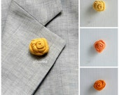 Flower lapel pin - Men's lapel flower - Men buttonhole - Men boutonniere - Yellow and Orange hues - Made in Italy