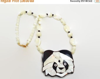 SALE - Panda Bear Necklace - Mother of Pearl & Black Onyx - Vintage Lee Sands, Bohemian, Boho Statement - InVintageHeaven
