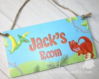 Boys Bedroom Bright Dinosaur Personalized Name Sign Wall Art DOOR SIGN DS0411