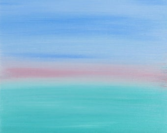 Experience & Spirit abstract pastel painting blue green pink by artist Jean Macaluso