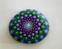 Bohemian dot art-yoga teacher gift ideas-mandala stones-painted rock-ooak 3D neon polka dot art-blue purple amethyst green-3D pointillism