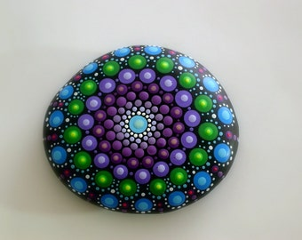 Bohemian dot art-mandala stone-painted rock-fall finds-autumn gift ideas-ooak 3D neon polka dot art-amethyst lilac-purple teal-pointillism