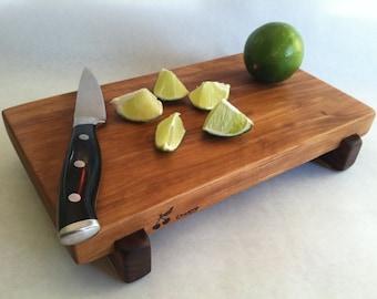 RECLAIMED Beautiful CHERRY Raised  serving/cutting board eco hardwoods