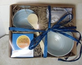 Dukkah Dipping Set with two Round Bowls and a bamboo spoon  Foodie Gift