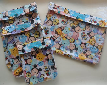 Tiny Tsum Tsum Disney Ouch Pouch Set 4 of Sizes Fish Extender Cruise Gift Clear Pocket First Aid Baby Diapers Wipes Bags Orgainzers