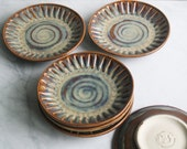 Custom Order Reserved for Gillian - Set of Six Rustic Stoneware Dessert Dishes Hand Carved Glazed in Textured Amber Made in USA