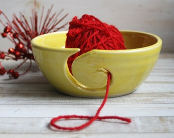 Yellow Knitting Bowl, Yarn Bowl Handmade Ceramic Yarn Holder, Stoneware Pottery Ready to Ship Made in USA