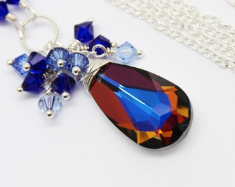 Cobalt Blue Necklace, Cluster Necklace Pendant, Volcano Swarovski Crystal Sterling Silver, Cognac Sapphire Bridesmaids, Bridal Jewelry