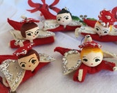 Vintage Pipe Cleaner Spun Cotton Angels Christmas Tree Tie-On Ornaments Lot