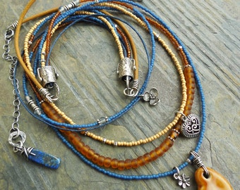 Heart and Flowers Multi Strand Necklace with Amber Ceramic, Royal Blue and Silver