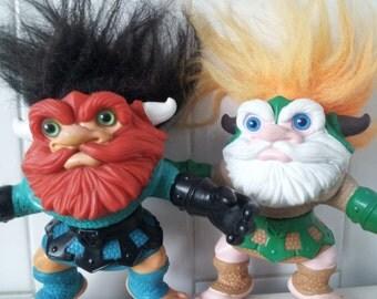 Vintage Set Of 2 Hasbro Battle Trolls 1992 Trollaf And Sven